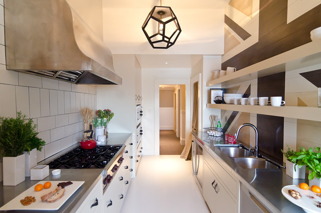 Zinc Countertops Kitchen Eclectic with Flush Cabinets Hood Open