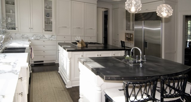Zinc Countertops Kitchen Traditional with Breakfast Bar Dark Floor1