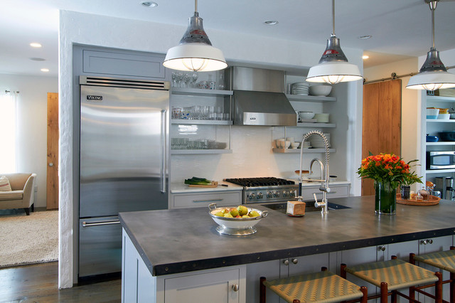Zinc Countertops Kitchen Transitional with Blue Cabinetry Contemporary Design