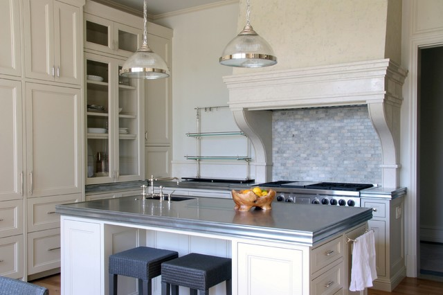 Zinc Countertops Kitchen Transitional with Breakfast Bar Eat In