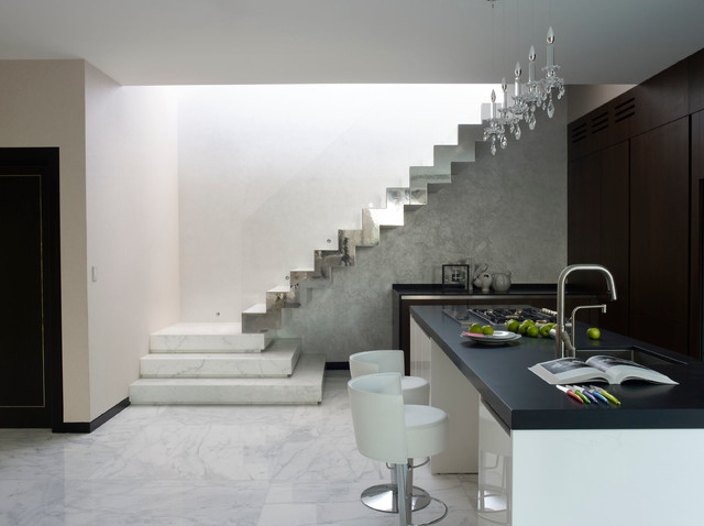 Zodiaq Quartz Kitchen Contemporary with Angular Marble Staircase Black