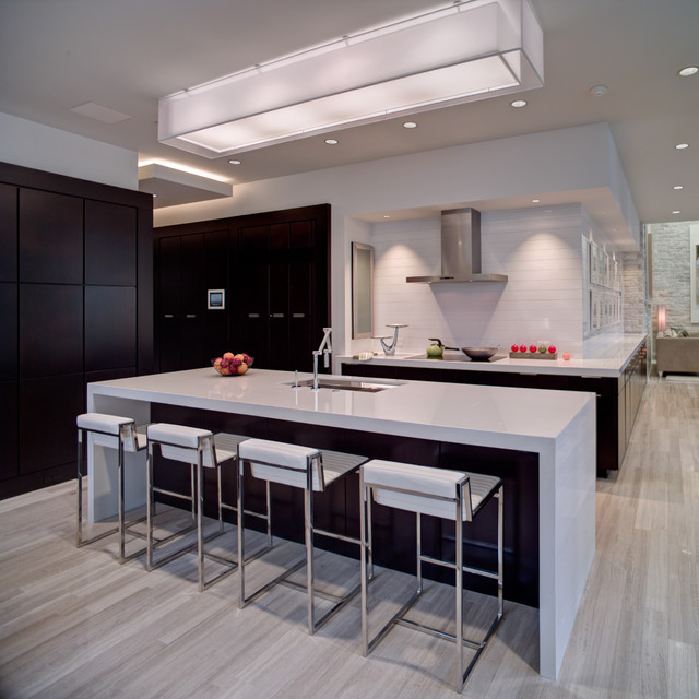 Zodiaq Quartz Kitchen Contemporary with Breakfast Bar Ceiling Lighting