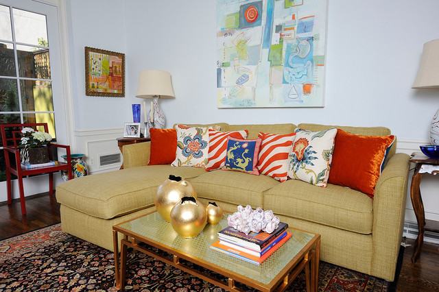 Zuri Furniture Living Room Eclectic with Area Rug Artwork Coffee