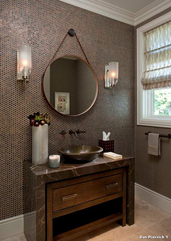 Arched Wall Sconce for Contemporary Powder Room and Brown Bowl Sink