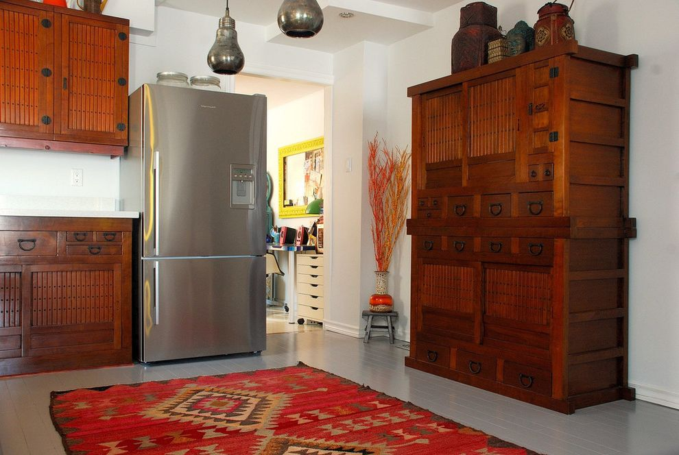 Asian Rustic  for Asian Kitchen and Stainless Steel Refrigerator