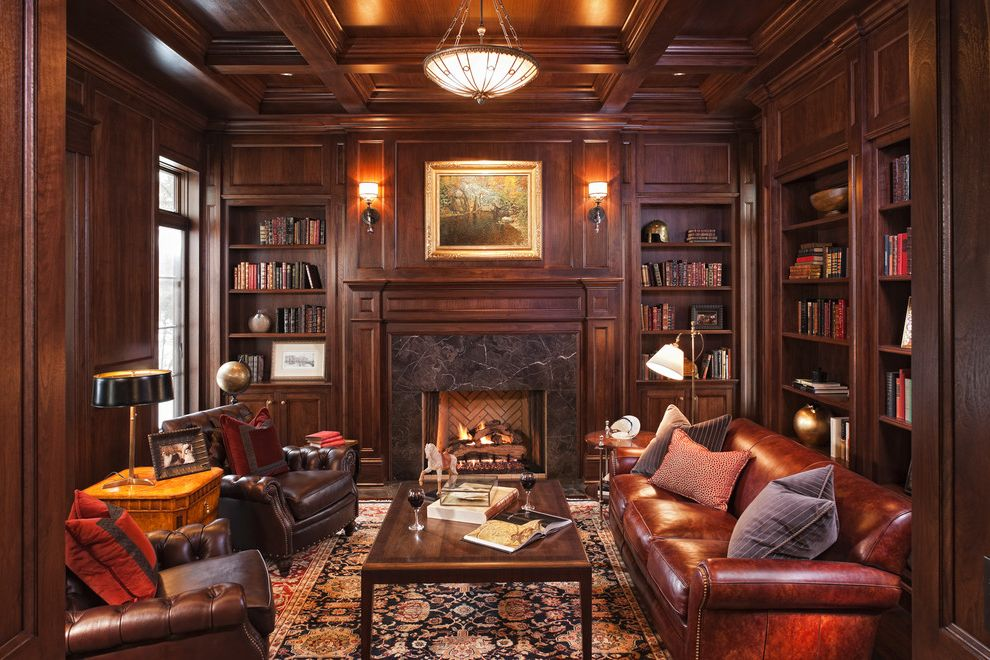 Build in Bookshelves Dark Wood Fireplace  for Traditional Family Room and Mantle