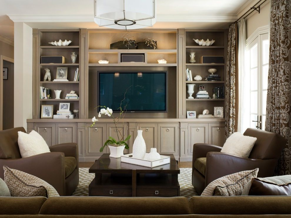 Built in Entertainment Center Flat Screen on Wall  for Traditional Family Room and French Doors