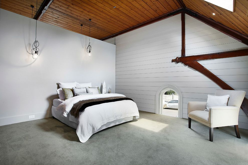 Ceiling Carpet  for Contemporary Bedroom and Wood Ceiling Beams
