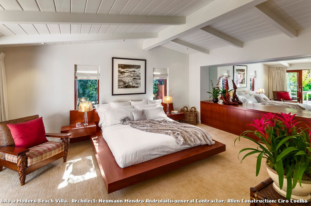 . Ceiling Carpet for Contemporary Bedroom and Wood Ceiling Beams