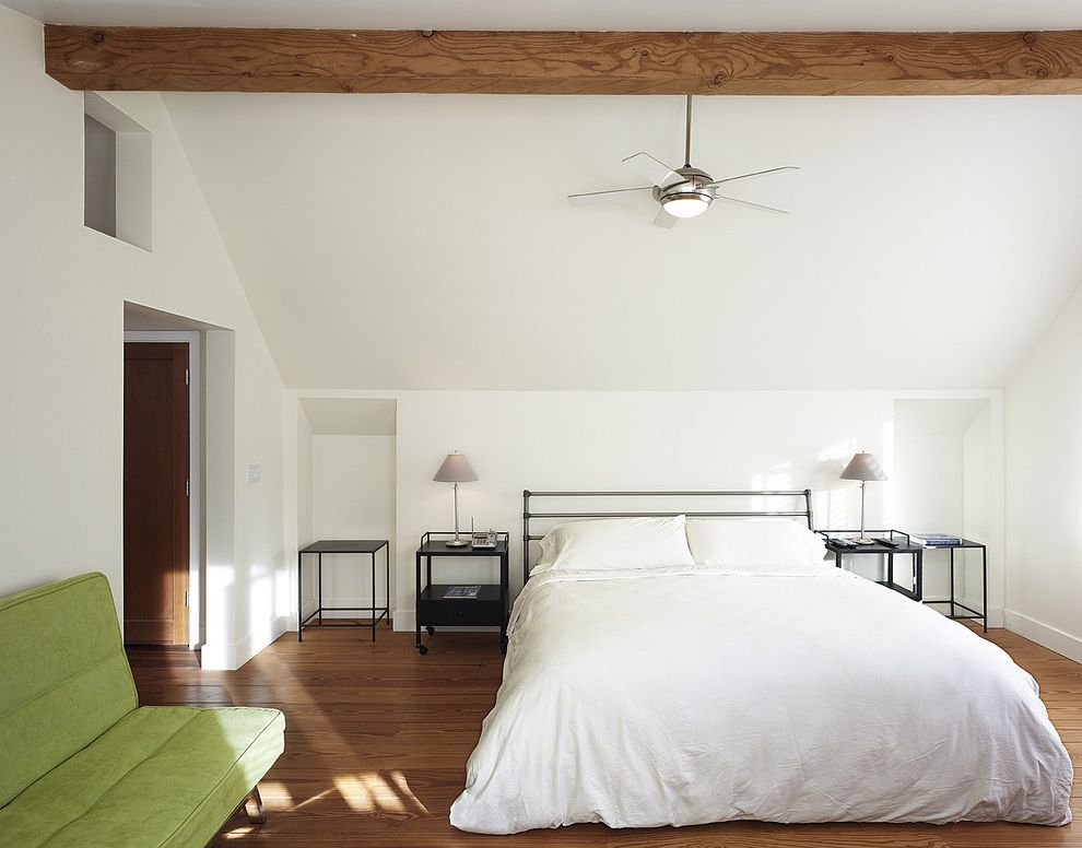 Ceiling Fan for Bedroom with Plantation Shutters  for Contemporary Bedroom and Exposed Beams
