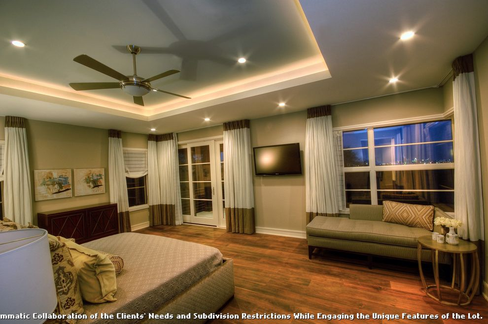 Ceiling Fan for Bedroom with Plantation Shutters  for Contemporary Bedroom and Tray Ceiling