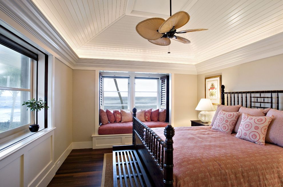 Ceiling Fan for Bedroom with Plantation Shutters  for Tropical Bedroom and Sloped Ceiling