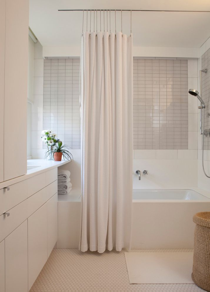 Ceiling to Floor Curtain Track  for Contemporary Bathroom and Honeycomb Tile Floor