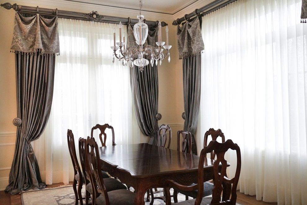 Ceiling to Floor Curtain Track  for Traditional Dining Room and Custom Made