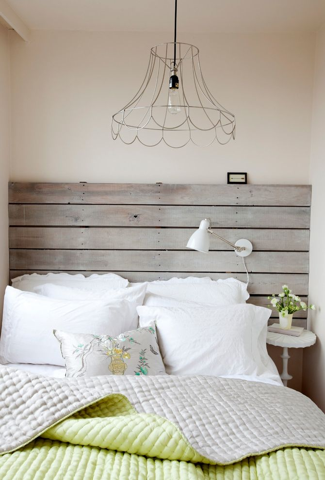 Coastal Chic Headboard  for Shabby Chic Style Bedroom and Lime Bedding