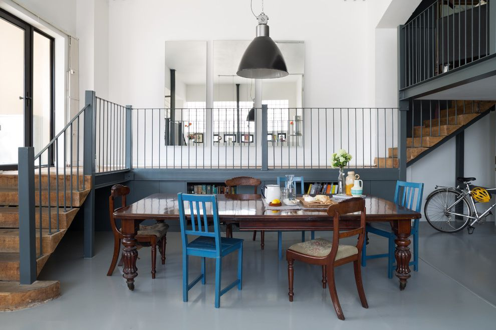 Contemporary Aluminium Blue Kids Chair for Eclectic Dining Room and Mismatched Chairs