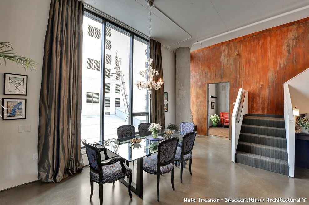 Copper Black Brown and Grey Curtains  for Modern Dining Room and Stained Wall