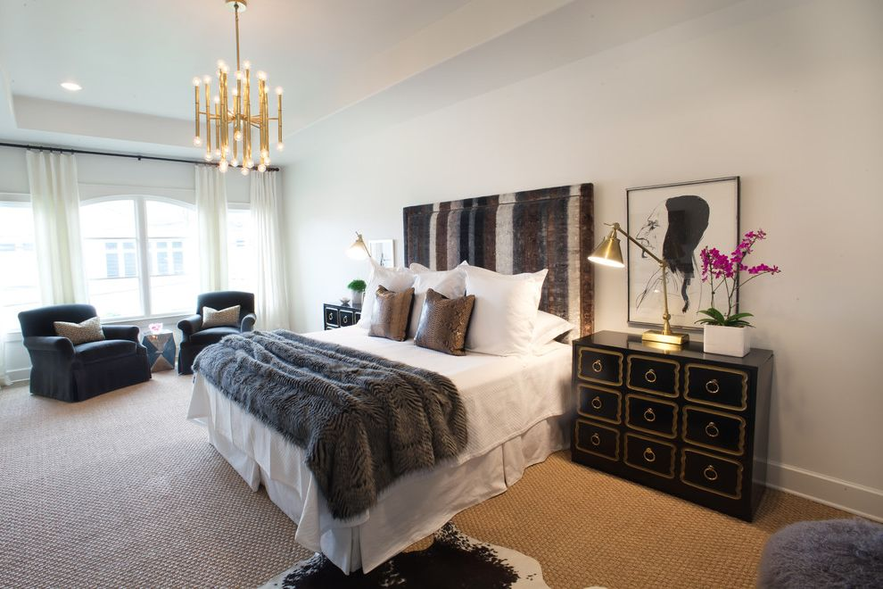 Copper Black Brown and Grey Curtains  for Transitional Bedroom and Dorothy Draper Chests