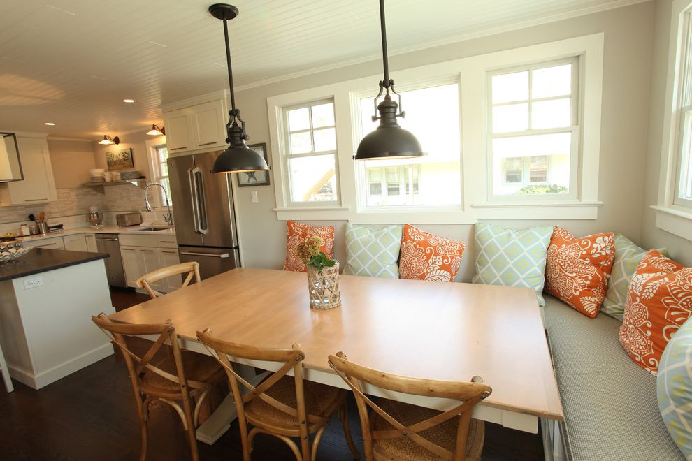 Cottage Style Kitchens with Banquetts  for Beach Style Kitchen and Hardwood Floors