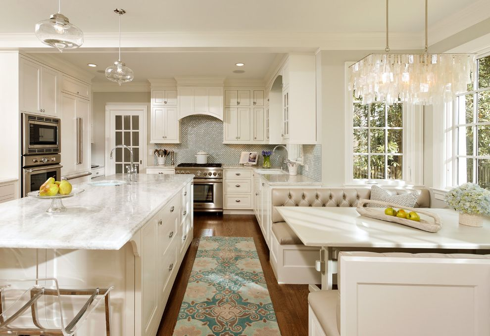 Cottage Style Kitchens with Banquetts  for Traditional Kitchen and Divided Lights