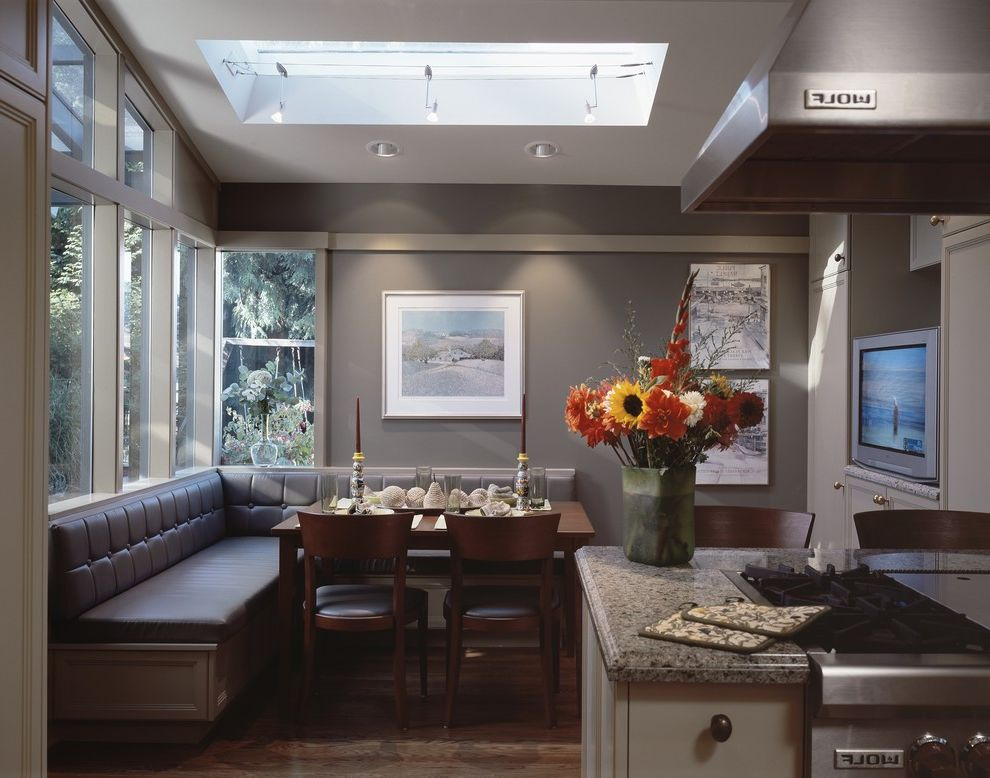 Cottage Style Kitchens with Banquetts  for Traditional Kitchen and Hardwood Floors