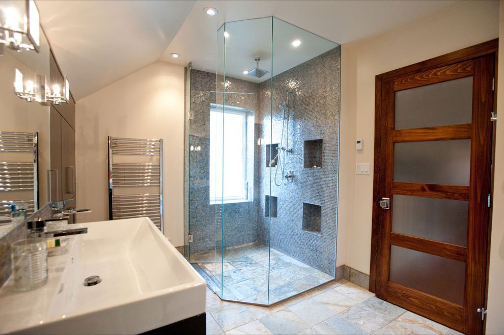 Curbless Neo Angle Shower for Eclectic Bathroom and Bathroom Storage