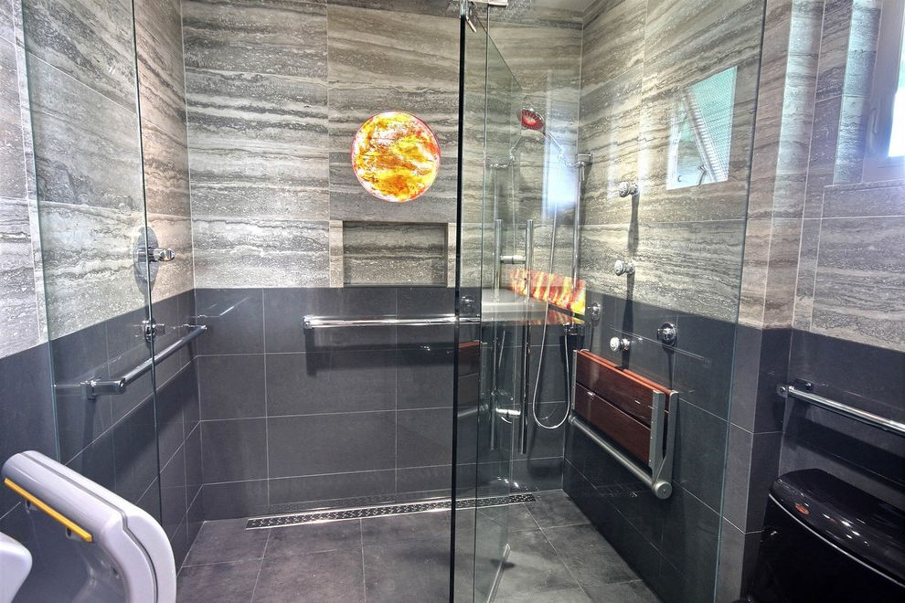 Curbless Neo Angle Shower for Modern Bathroom and Hand Dryer