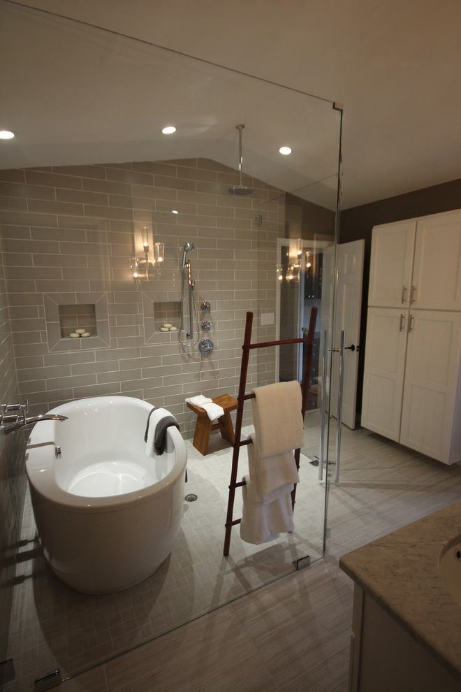 Curbless Neo Angle Shower For Eclectic Bathroom And Glass