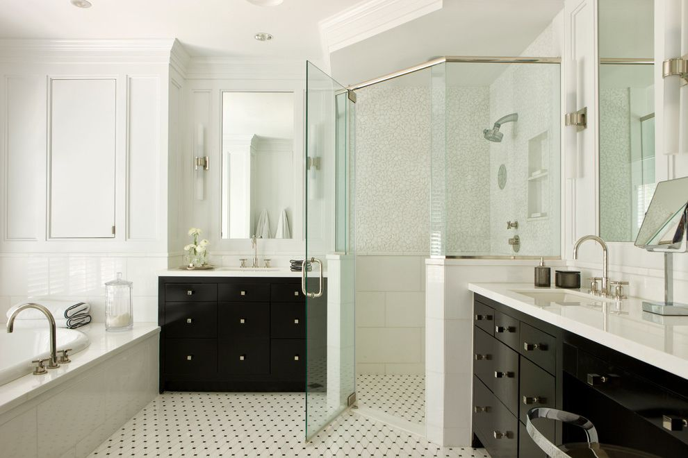 Curbless Neo Angle Shower for Transitional Bathroom and Black Vanity