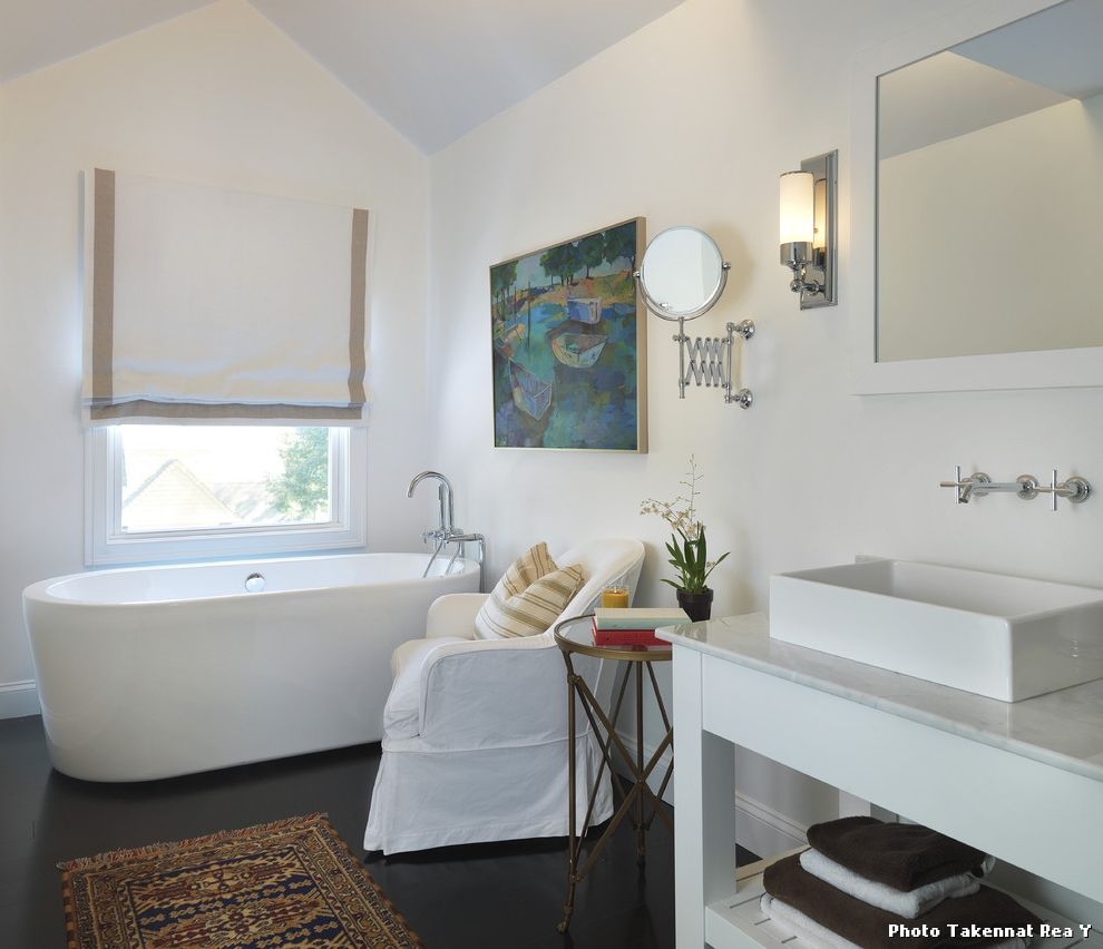 Custom Tub Shades for Eclectic Bathroom and Sloped Ceiling