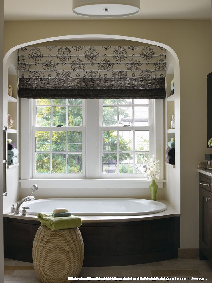 Custom Tub Shades for Traditional Bathroom and Limestone Slab Tub Deck
