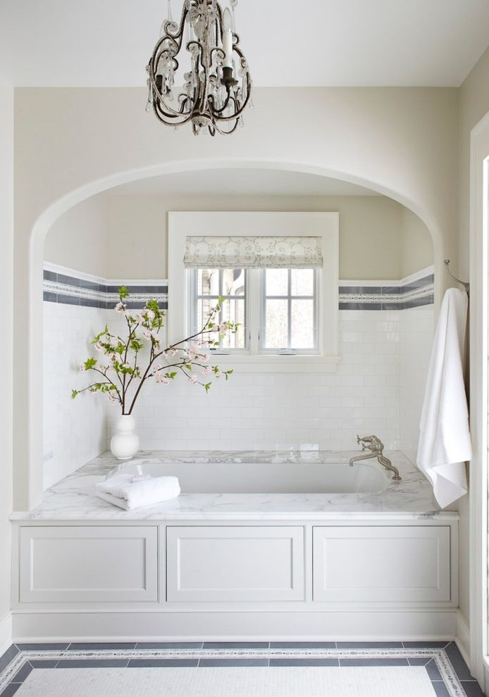 Custom Tub Shades for Traditional Bathroom and Master Bath