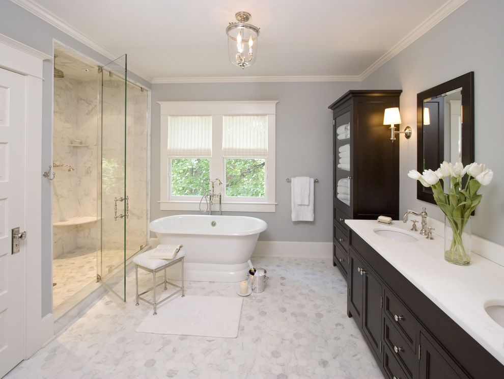 Custom Tub Shades for Traditional Bathroom and White Wood