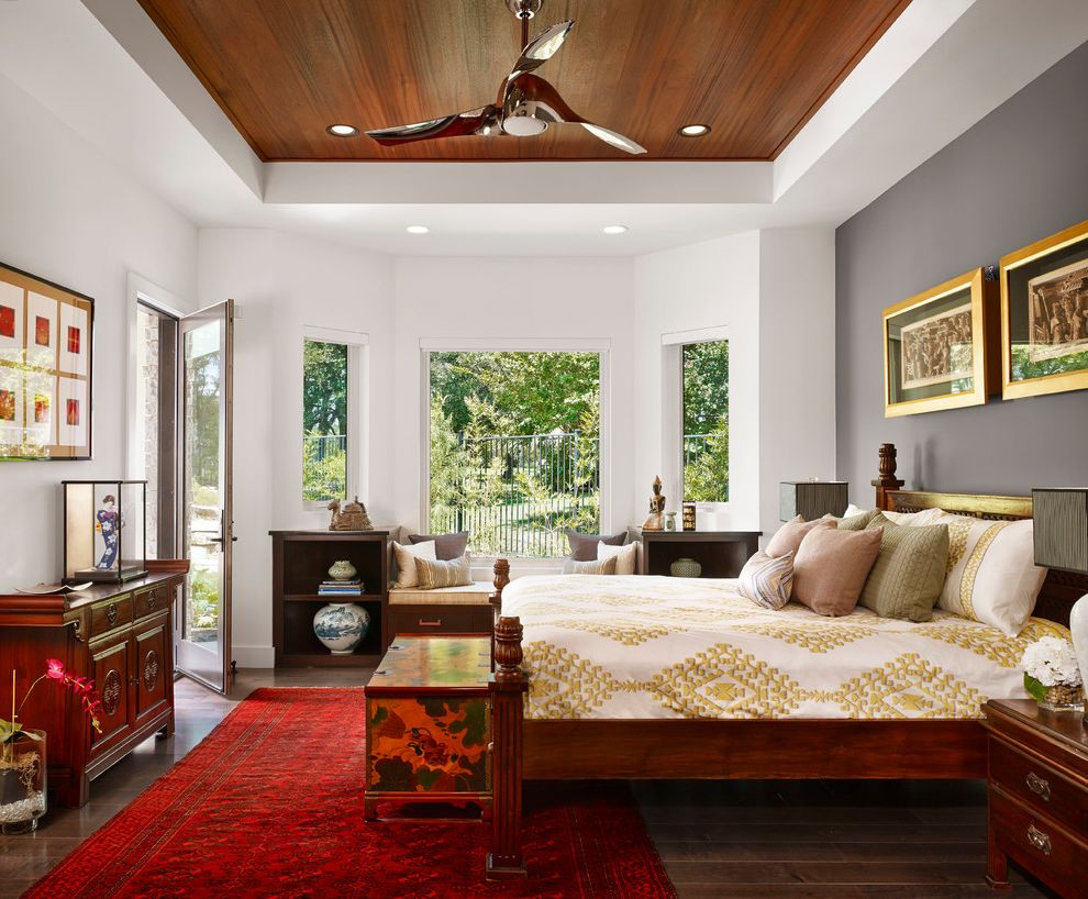 Dark Ceiling with Wood Accents  for Asian Bedroom and Rugs
