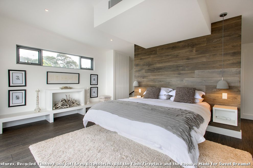 Dark Ceiling with Wood Accents  for Contemporary Bedroom and Faux Fireplace