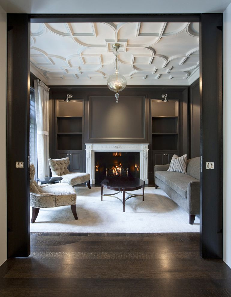 Dark Ceiling with Wood Accents  for Traditional Living Room and Armless Lounge Chairs