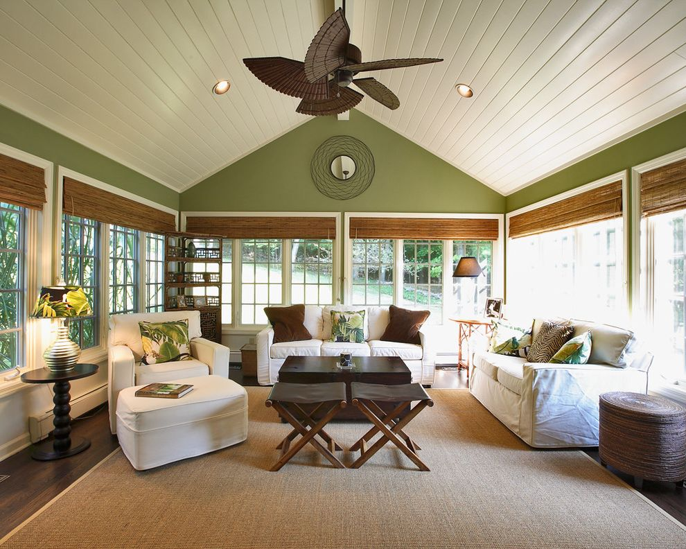 Dark Ceiling with Wood Accents  for Traditional Sunroom and Jute Rug