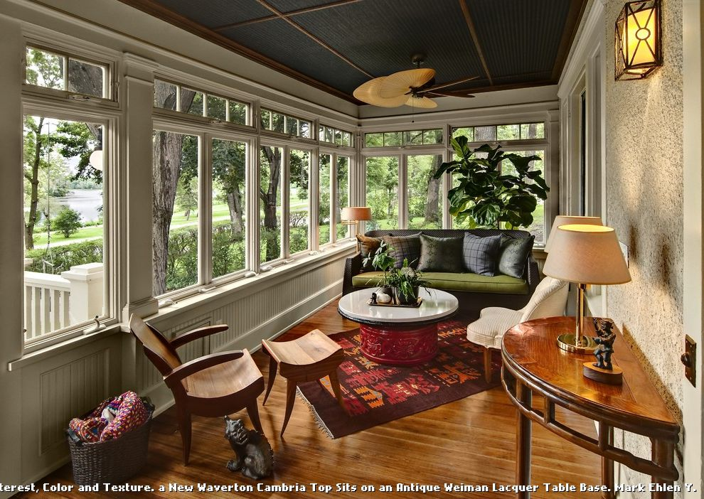 Dark Ceiling with Wood Accents  for Traditional Sunroom and Outdoor Lighting