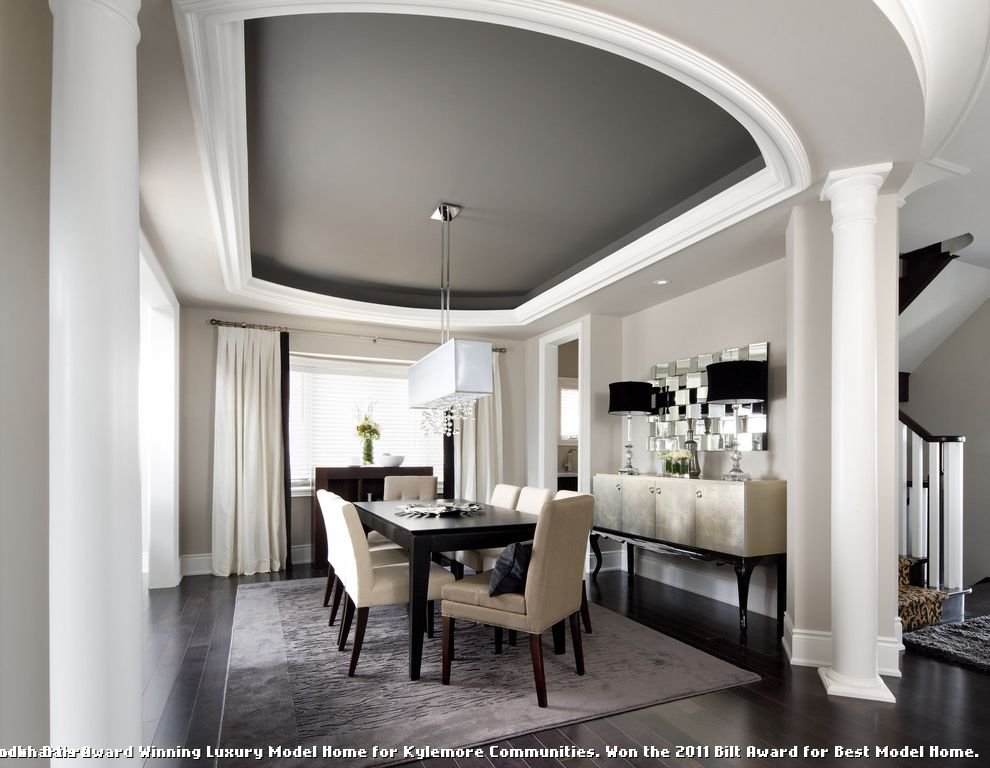 Dark Ceiling with Wood Accents  for Transitional Dining Room and Wood Trim