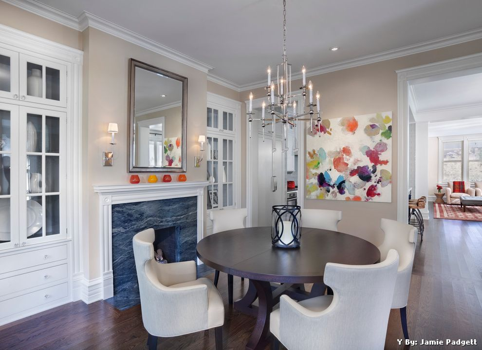Details of Shaker Beige  for Transitional Dining Room and White Molding