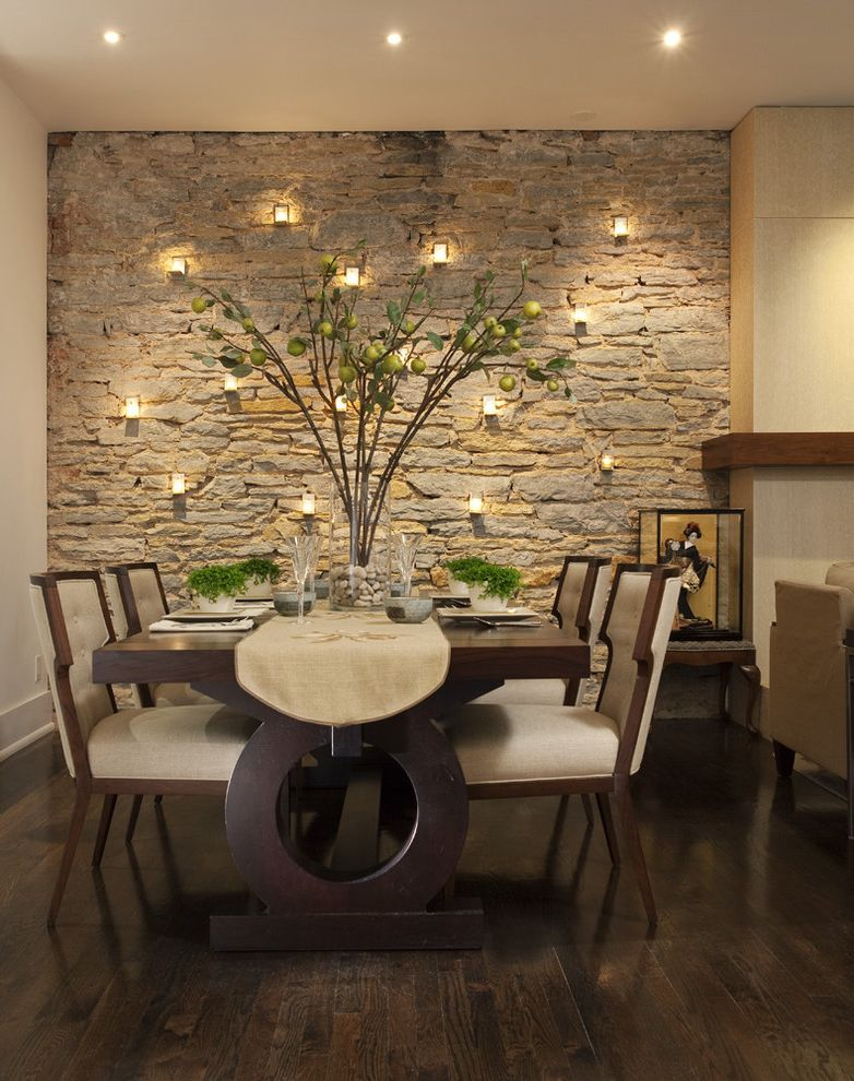 Dining Room Brick 2015 for Contemporary Dining Room and Stone Wall