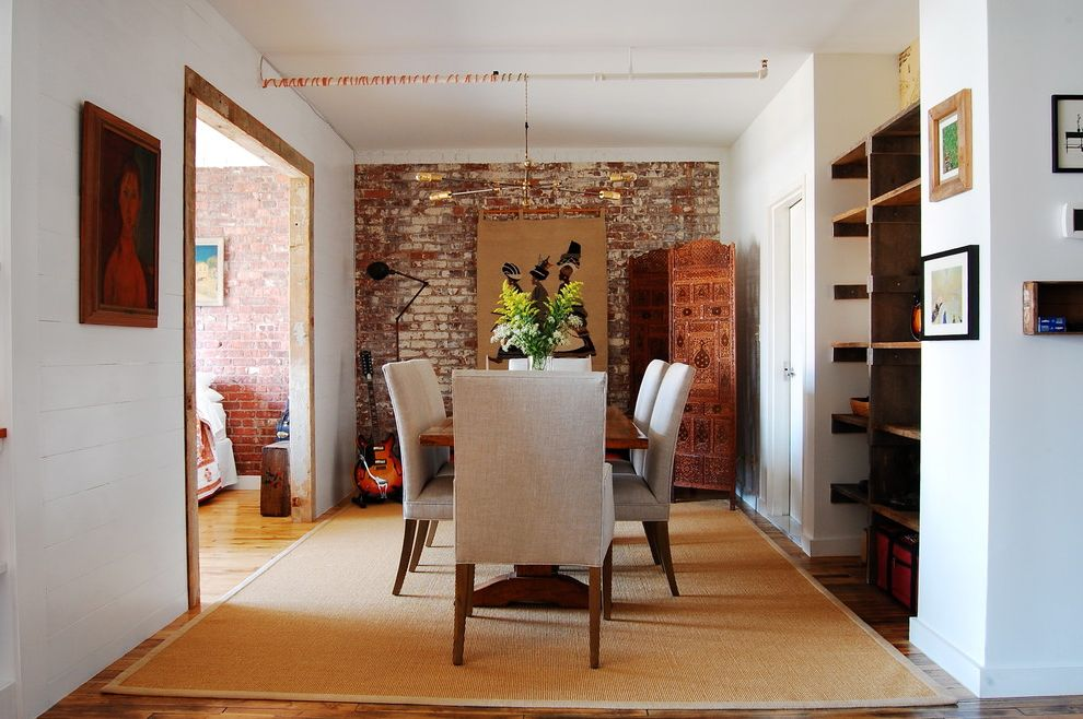 Dining Room Brick 2015 for Industrial Dining Room and Wood Shelves