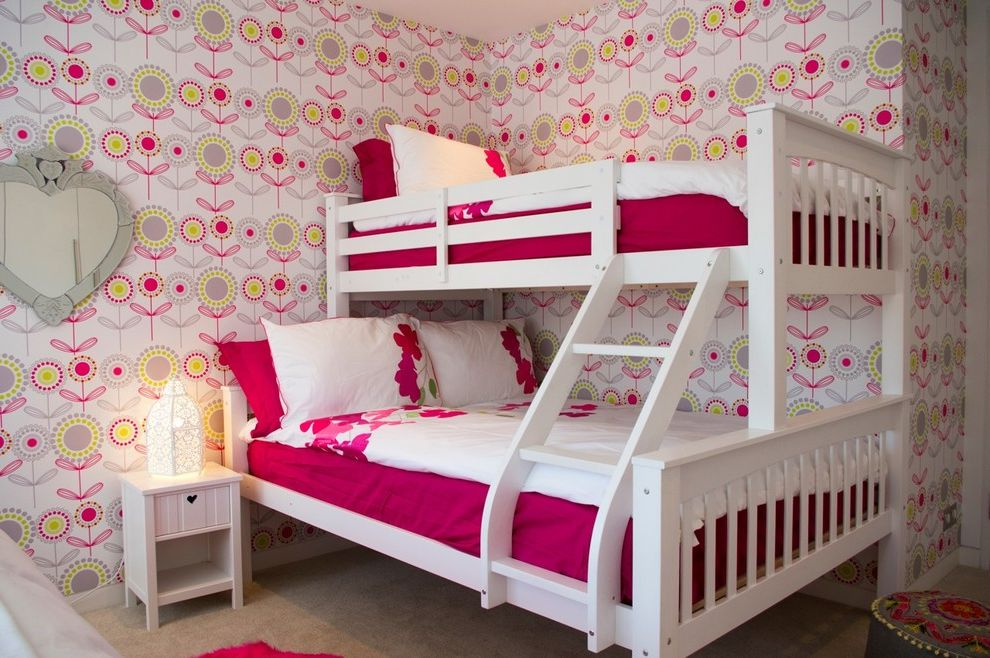 Domo Bunk Beds  for Contemporary Kids and Floral Wallpaper