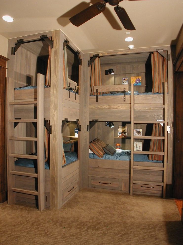 Domo Bunk Beds  for Rustic Kids and Blue Bedding