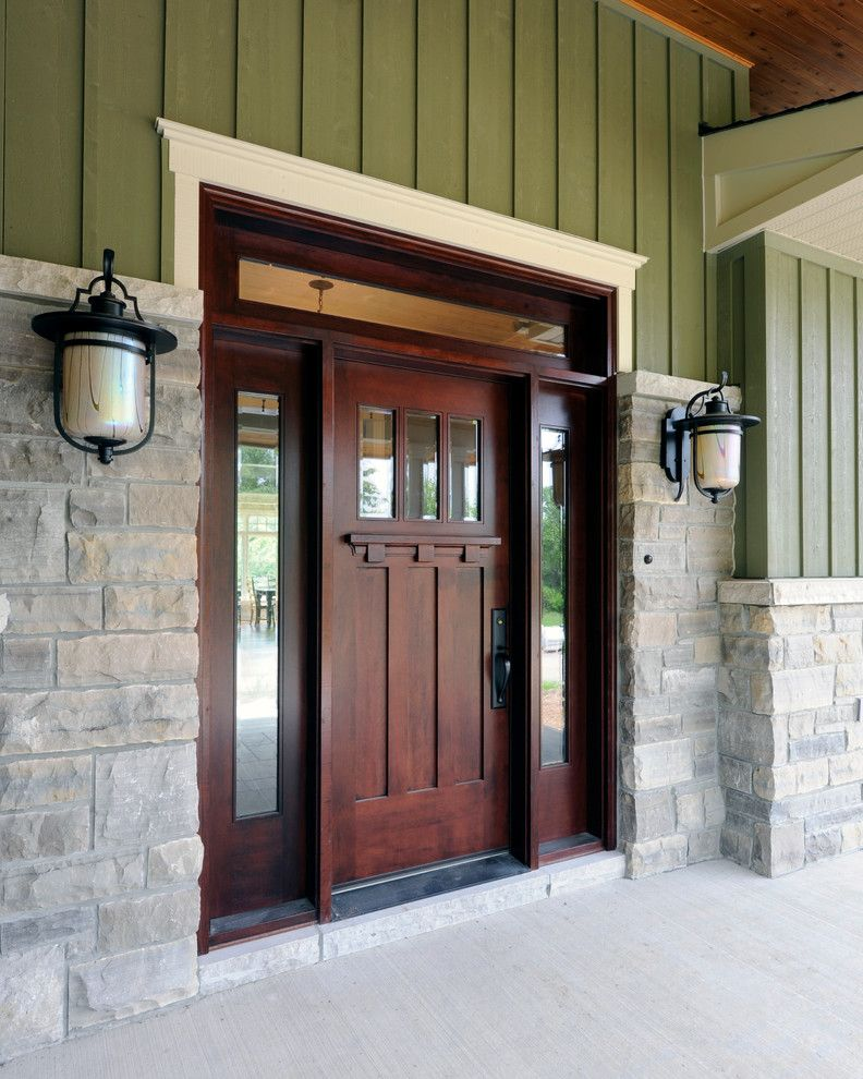 Door with Sidelights and Brick  for Craftsman Entry and Outdoor Light