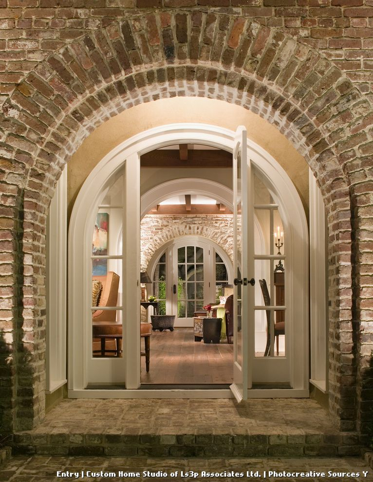 Door with Sidelights and Brick  for Traditional Entry and Brick Exterior