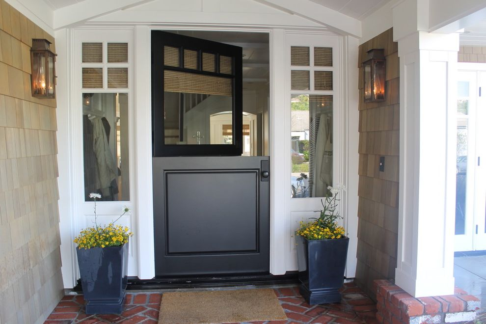Door with Sidelights and Brick  for Traditional Entry and Covered Entry