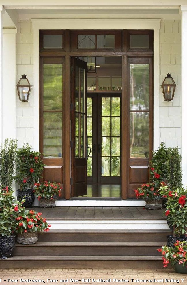 Door with Sidelights and Brick  for Traditional Entry and Symmetry