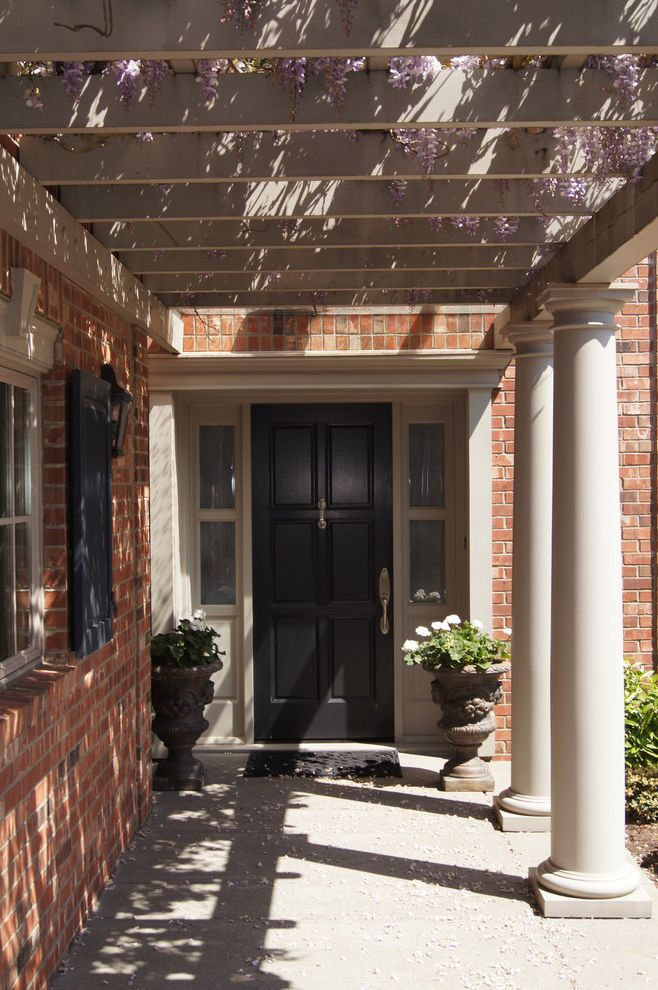 Door with Sidelights and Brick  for Traditional Exterior and Columns