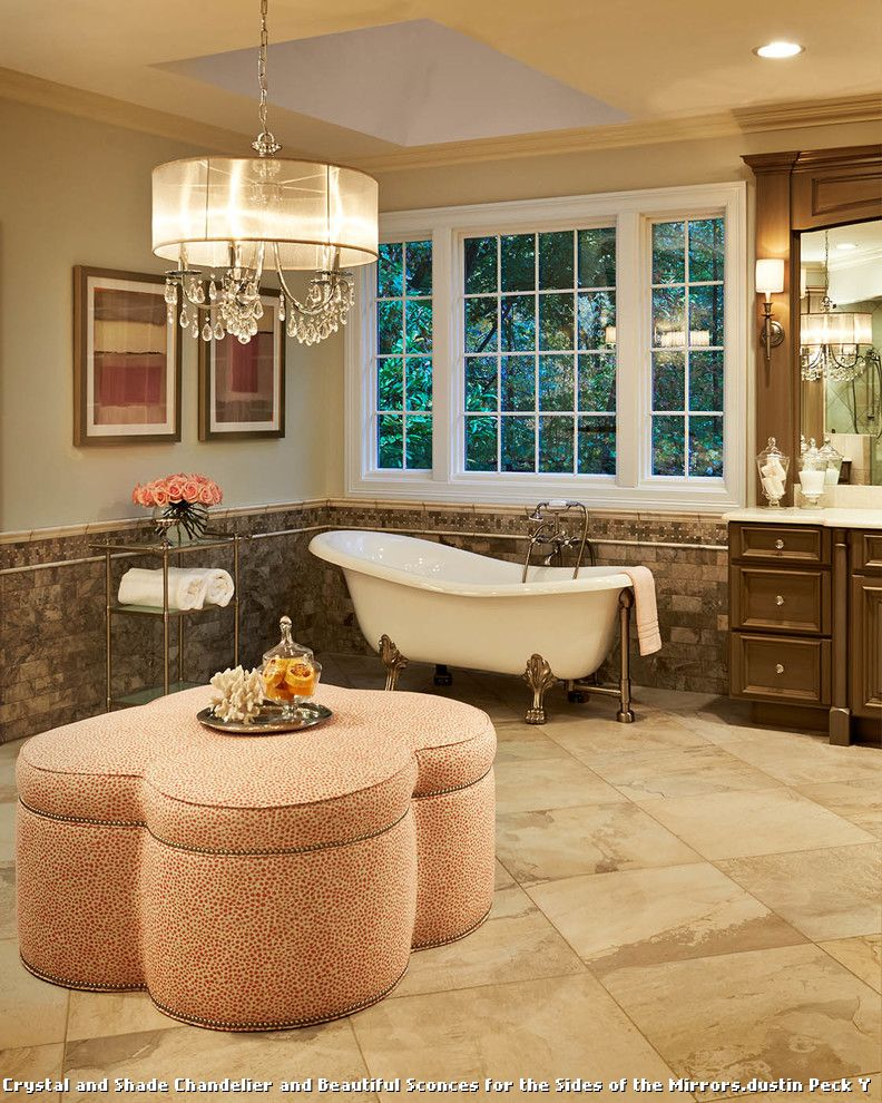 Drum Chandelier in Bathrooms for Traditional Bathroom and Wall Sconces